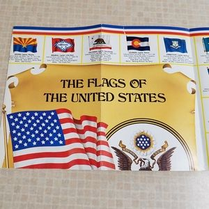 3/$10📚Vintage Poster Of Flags of the USA & Canada